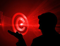 Composite image of shiny red copyright icon on black background Stock Images