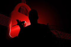 Composite image of shiny red lock on black background Royalty Free Stock Photos