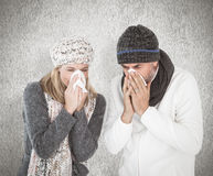 Composite image of sick couple in winter fashion sneezing Royalty Free Stock Photo