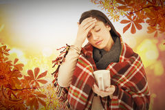 Composite image of sick woman having a migraine Stock Photos