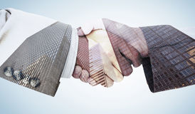 Composite image of side view of business peoples hands shaking Royalty Free Stock Photos