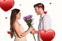 Composite image of side view of couple holding flowers Stock Photography