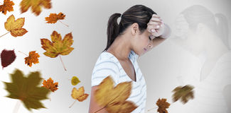 Composite image of side view of depressed woman Stock Photo