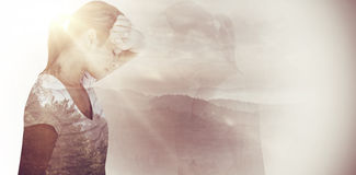 Composite image of side view of depressed woman Royalty Free Stock Photography