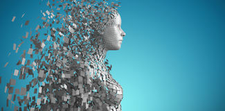 Composite image of side view of gray pixelated 3d woman. Side view of gray pixelated 3d woman against blue vignette background Stock Photography