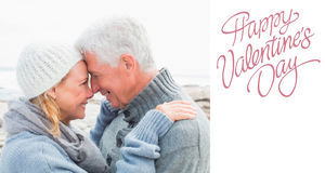 Composite image of side view of a romantic senior couple Royalty Free Stock Photo