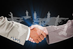 Composite image of side view of shaking hands Royalty Free Stock Images