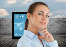 Composite image of side view of thinking young businesswoman Stock Photos