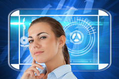 Composite image of side view of thinking young businesswoman Stock Image