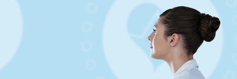 Composite image of side view of thoughtful female scientist Stock Images