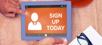 Composite image of sign up now text with human icon on brown screen Royalty Free Stock Photos