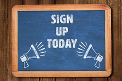 Composite image of sign up today Royalty Free Stock Images