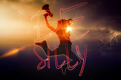 Composite image of silhouette of jumping woman holding megaphone Stock Photos