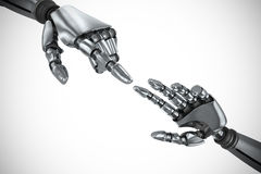 Composite image of silver robot arm pointing at something Stock Images