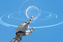 Composite image of silver robot arm pointing at something Royalty Free Stock Photo