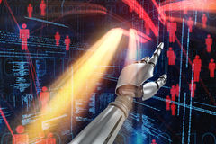 Composite image of silver robot arm pointing at something Royalty Free Stock Photography