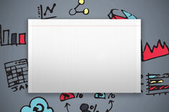 Composite image of single lined blank paper Royalty Free Stock Photography