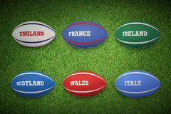 Composite image of six nations rugby balls Stock Image