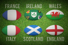 Composite image of six nations rugby balls Royalty Free Stock Photos