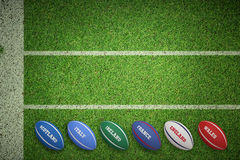 Composite image of six nations rugby balls Royalty Free Stock Image