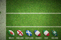 Composite image of six nations rugby balls Stock Images