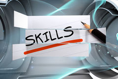 Composite image of skills in handwriting on abstract screen Royalty Free Stock Image