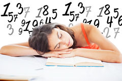 Composite image of sleeping student head on her books Royalty Free Stock Photos
