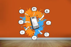 Composite image of smartphone apps on paint splashes Stock Photo