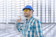 Composite image of smiling architect looking away while holding blueprint Stock Photography