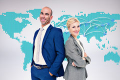 Composite image of  smiling business people back-to-back Royalty Free Stock Photography
