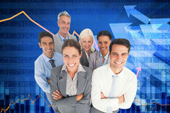 Composite image of smiling business people looking at camera with arms crossed Royalty Free Stock Image