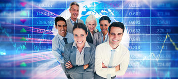 Composite image of smiling business people looking at camera with arms crossed Stock Images