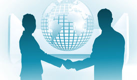 Composite image of smiling business people shaking hands while looking at the camera Stock Photography