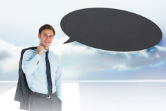 Composite image of smiling businessman holding his jacket with speech bubble Royalty Free Stock Photos