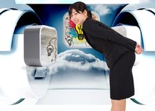 Composite image of smiling businesswoman bending Royalty Free Stock Photography