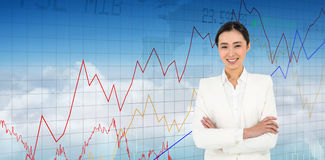 Composite image of smiling businesswoman looking at the camera Stock Images