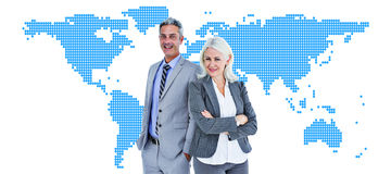 Composite image of  smiling businesswoman and man with arms crossed Royalty Free Stock Images