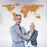 Composite image of  smiling businesswoman and man with arms crossed Royalty Free Stock Photos