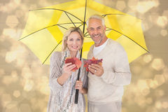 Composite image of smiling couple showing autumn leaves under umbrella Royalty Free Stock Image