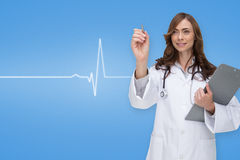 Composite image of smiling doctor pointing Stock Photos