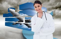 Composite image of smiling female doctor in thinkers pose Royalty Free Stock Image