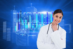 Composite image of smiling female doctor in thinkers pose Stock Photos
