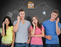 Composite image of a smiling group of friends make calls while looking into the camera Stock Photos