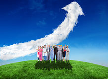 Composite image of smiling group of people with different jobs. Against cloud arrow Stock Images