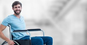 Composite image of smiling handicap man. Digital composite of Composite image of smiling handicap man Stock Image