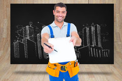 Composite image of smiling handyman giving clipboard for signature Stock Photos