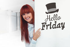 Composite image of smiling hipster woman behind a white card Stock Images