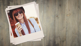 Composite image of smiling hipster woman drinking coffee Stock Photography