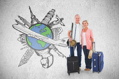 Composite image of smiling older couple going on their holidays. Smiling older couple going on their holidays against white background Royalty Free Stock Images