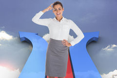 Composite image of smiling thoughtful businesswoman Royalty Free Stock Image